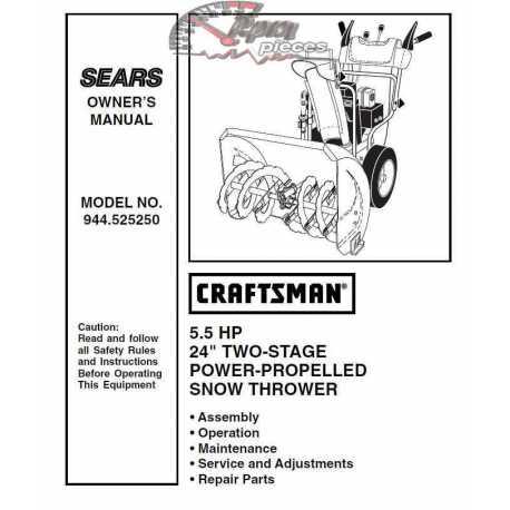 Craftsman snowblower Parts Manual 944.525250
