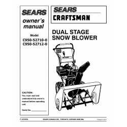 Craftsman snowblower Parts Manual C950-52710-0