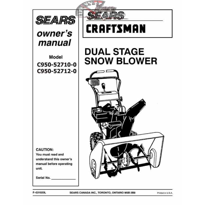 Craftsman snowblower Parts Manual C950 52710 0 C950 52712 0