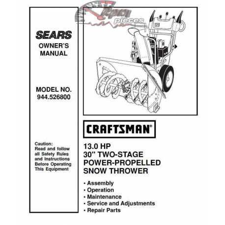 Craftsman snowblower Parts Manual 944.526800
