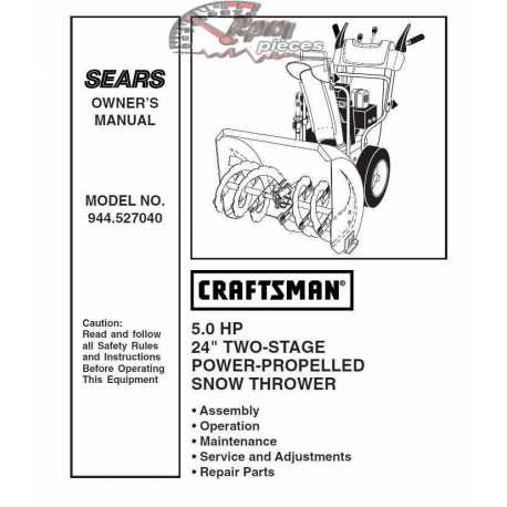 Craftsman snowblower Parts Manual 944.527040