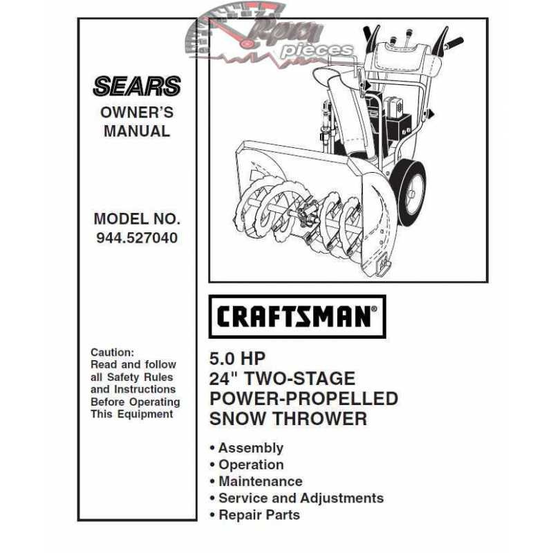 craftsman snowblower parts manual 944 527040