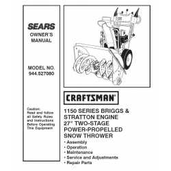 Craftsman snowblower Parts Manual 944.527080