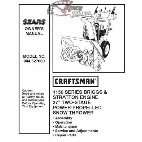 Craftsman snowblower Parts Manual 944.527080