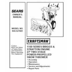 Craftsman snowblower Parts Manual 944.527081
