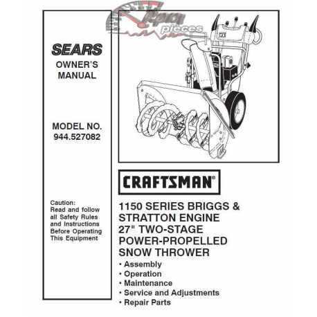 Craftsman snowblower Parts Manual 944.527082