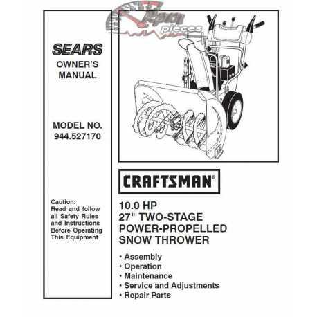 Craftsman snowblower Parts Manual 944.527170
