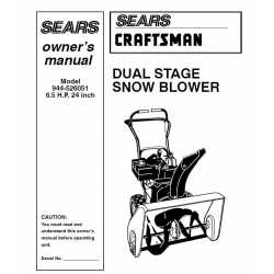 Craftsman snowblower Parts Manual 944-526051