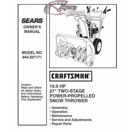 Craftsman snowblower Parts Manual 944.527171