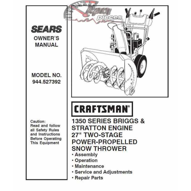 craftsman snowblower parts manual 944 527392