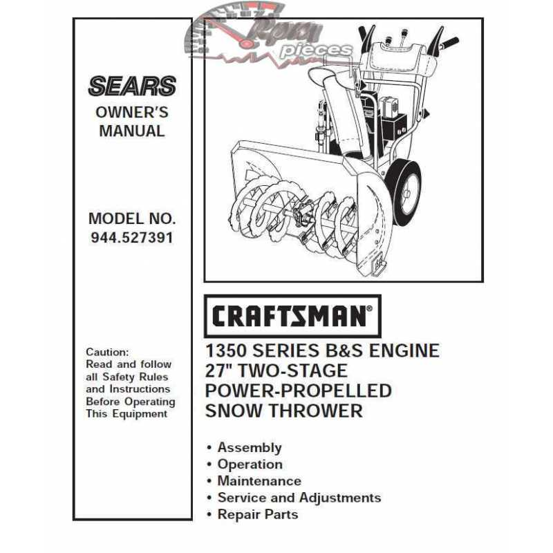 craftsman snowblower parts manual 944 527391