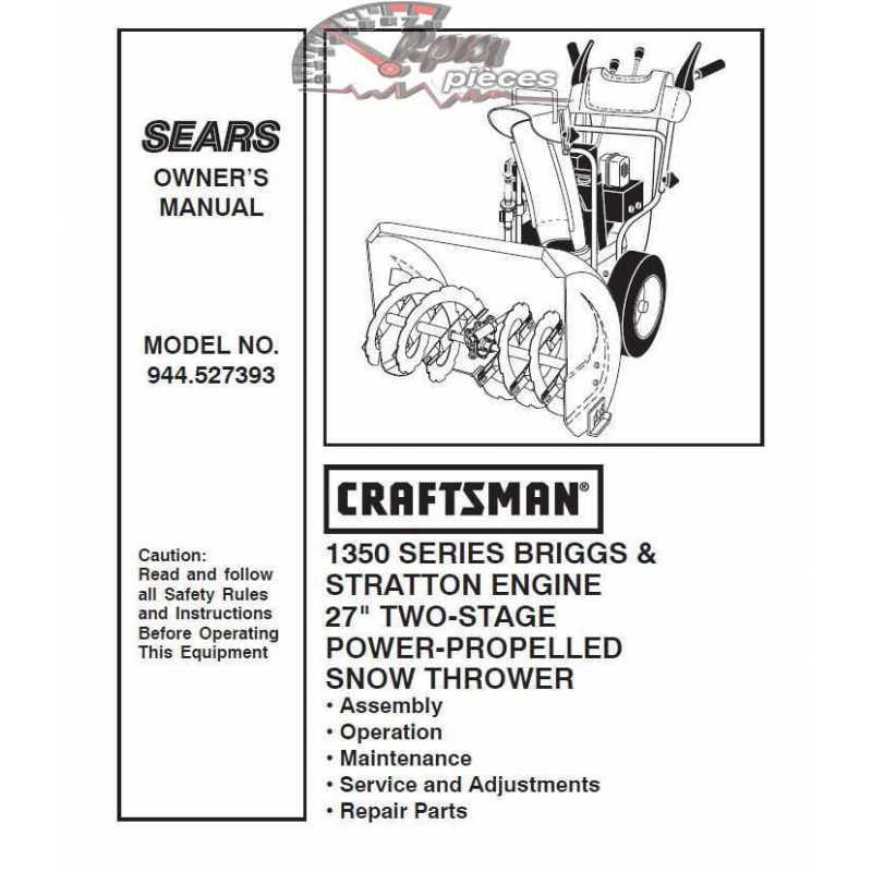 craftsman snowblower parts manual 944 527393