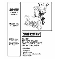 Craftsman snowblower Parts Manual 944.527400