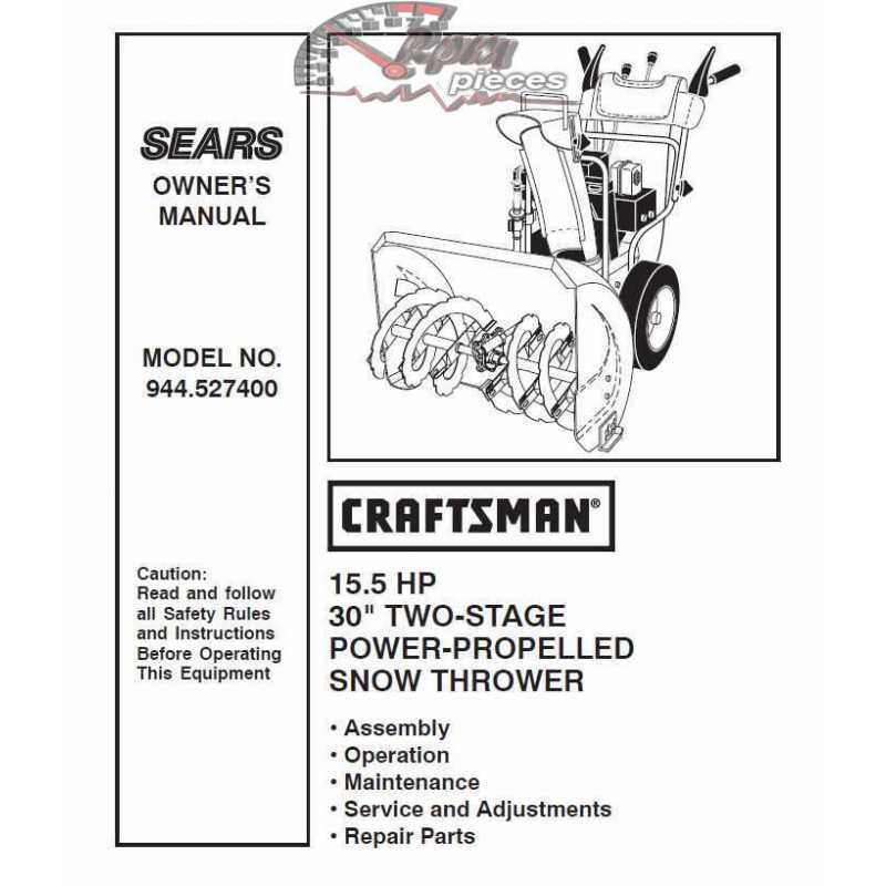 craftsman snowblower parts manual 944 527400