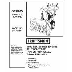 Craftsman snowblower Parts Manual 944.527650