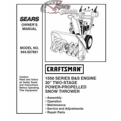Craftsman snowblower Parts Manual 944.527651