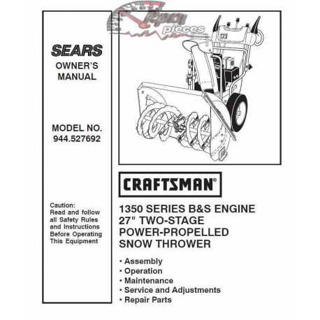 Craftsman snowblower Parts Manual 944.527692