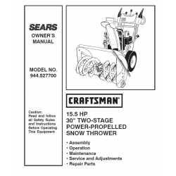 Craftsman snowblower Parts Manual 944.527700