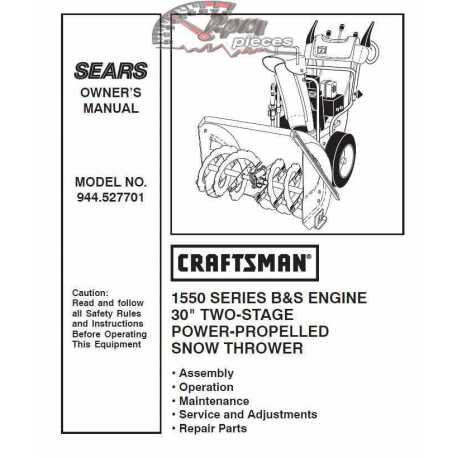 Craftsman snowblower Parts Manual 944.527701