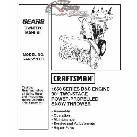Craftsman snowblower Parts Manual 944.527800