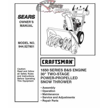 Craftsman snowblower Parts Manual 944.527801