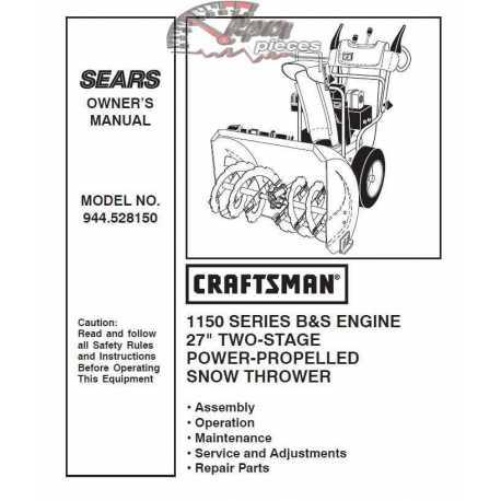 Craftsman snowblower Parts Manual 944.528150