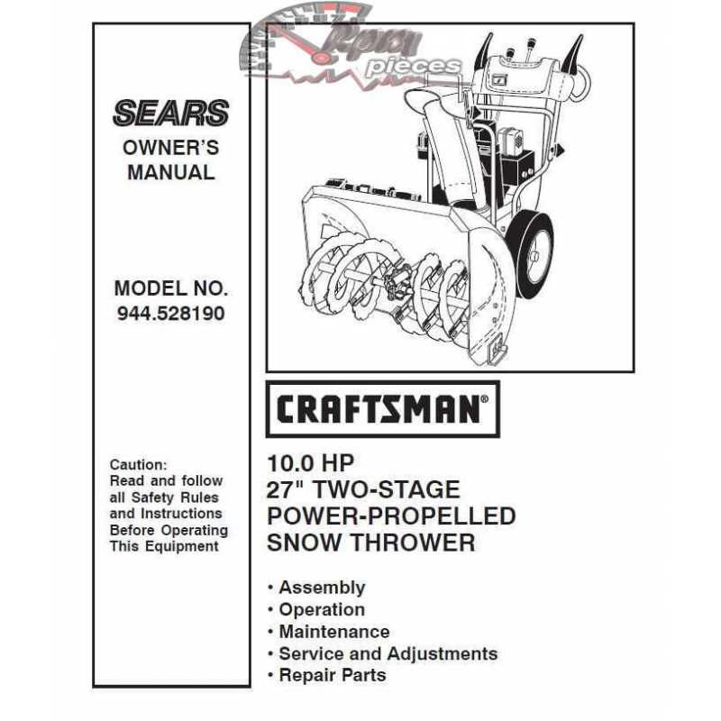 craftsman snowblower parts manual 944 528190