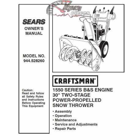 Craftsman snowblower Parts Manual 944.528260