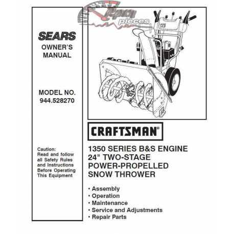 Craftsman snowblower Parts Manual 944.528270