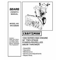 Craftsman snowblower Parts Manual 944.528290