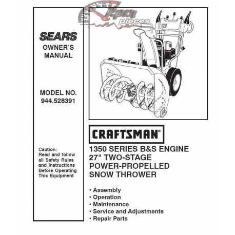 Craftsman snowblower Parts Manual 944.528391