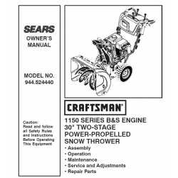 Craftsman snowblower Parts Manual 944.524440