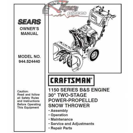 Craftsman snowblower Parts Manual 944.524440