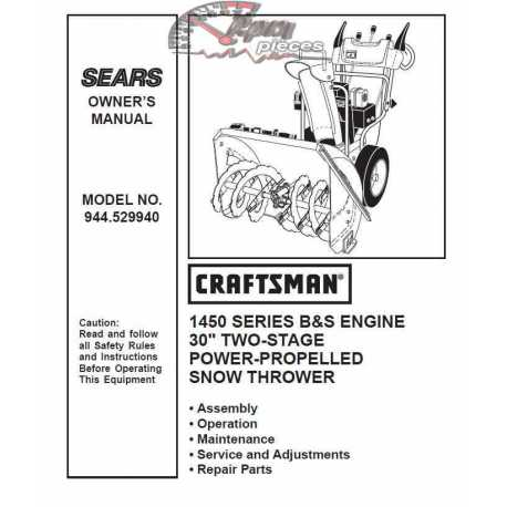 Craftsman snowblower Parts Manual 944.529940