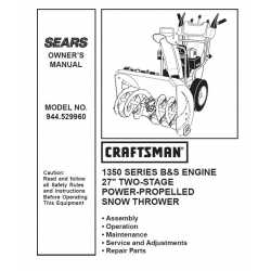 Craftsman snowblower Parts Manual 944.529960