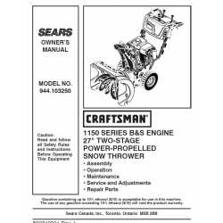 Craftsman snowblower Parts Manual 944.103250