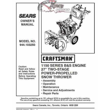 Craftsman snowblower Parts Manual 944.103250