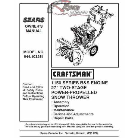 Craftsman snowblower Parts Manual 944.103251