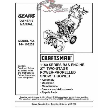 Craftsman snowblower Parts Manual 944.103252