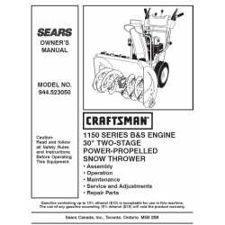 Craftsman snowblower Parts Manual 944.523050