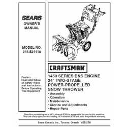Craftsman snowblower Parts Manual 944.524410