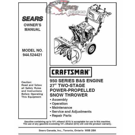 Craftsman snowblower Parts Manual 944.524421