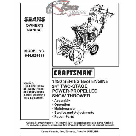 Craftsman snowblower Parts Manual 944.525411