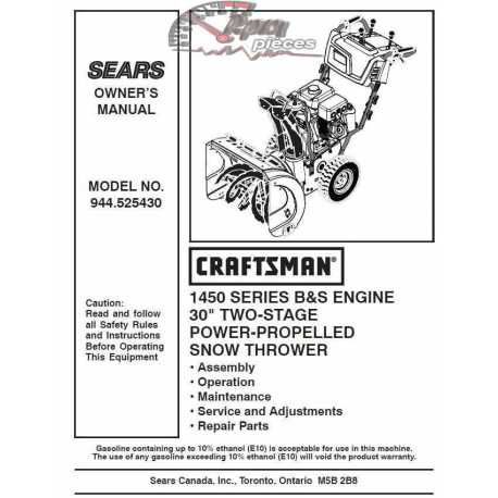 Craftsman snowblower Parts Manual 944.525430