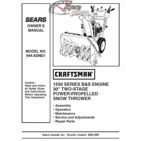 Craftsman snowblower Parts Manual 944.529821