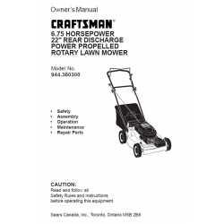 Craftsman lawn mower parts Manual 944.360300