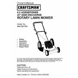 Craftsman lawn mower parts Manual 944.361150