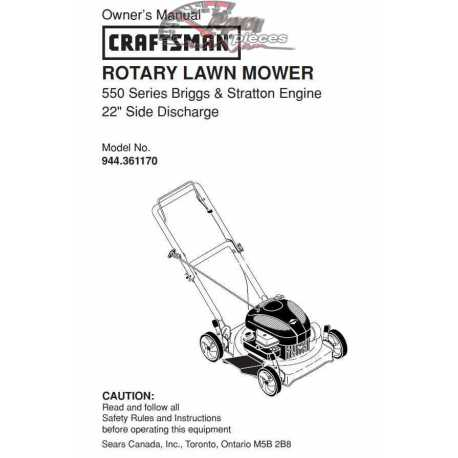 Craftsman lawn mower parts Manual 944.361170