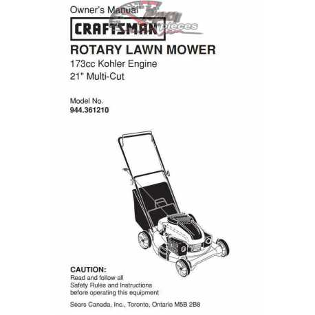 Craftsman lawn mower parts Manual 944.361210
