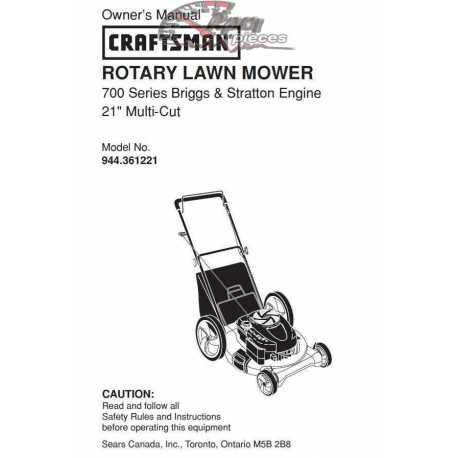 Craftsman lawn mower parts Manual 944.361221